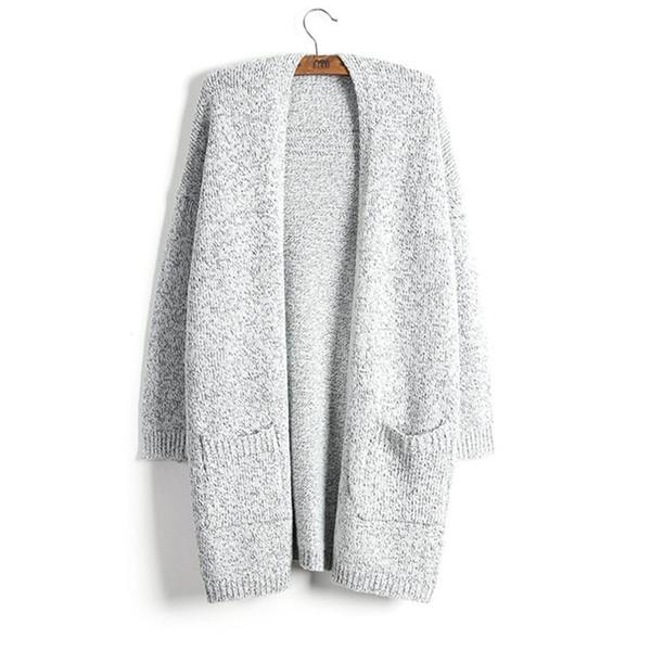 Acheter Pull Femmes Manteau De Mode Automne Hiver Épais Garder Au Chaud Cardigan New Lady Chandail Gris Long Style Tricot Solide Avec Poche