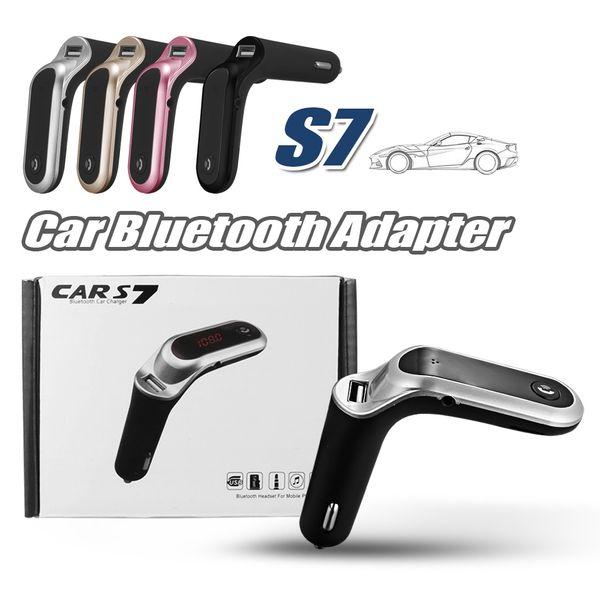 Transmetteur FM S7 Kit voiture Bluetooth Mains-libres Adaptateur Radio FM LED Adaptateur voiture Bluetooth Adaptateur Prise en charge TF Carte Clé USB Lecteur AUX Entrée / Sortie