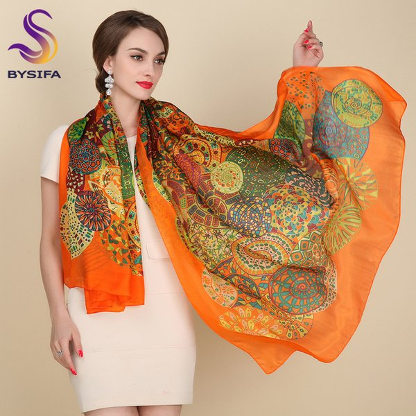 Ultralarge Spring Autumn Silk Scarf Wraps Hot Sale Female Long Scarf Cape Fashion New Design Orange Mulberry Silk Scarf Muffler S18101904