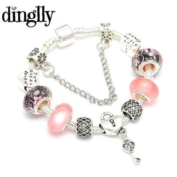 DINGLLY Silver Plated Petite Lock & Key Charm Bracelet with Pink Glass Beads Fashion Brand Bracelets for Woman