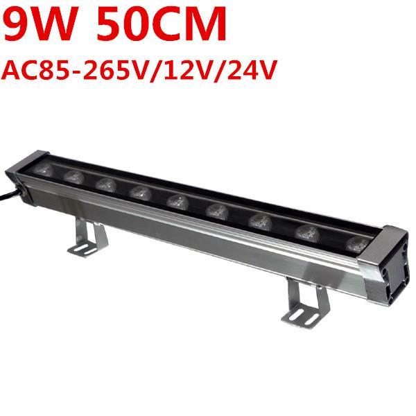 Nuovo 0.5M 9W LED Wall Washer Paesaggio luce AC 85V-265V 12 V 24 V luci esterne parete lineare proiettore proiettore 50 cm wallwasher