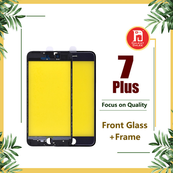 For iPhone 7 Plus Front Touch Screen Panel Outer Glass Lens + Cold Glue Middle Frame Bezel Assembly Replacement Parts For iphone 7P