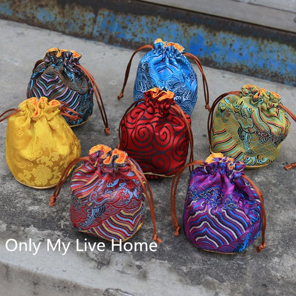 Wave Round Bottom Chinese Brocade Small Bucket Bag Drawstring Silk Jewelry Pouch Bracelet Gift Bag Pouch 3 size choose 50pcs/lot