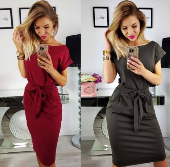 2018 New Fashionable European and American Women's Short Sleeve Tie Dress With Round Collar Wrap Lady Hip Skirt