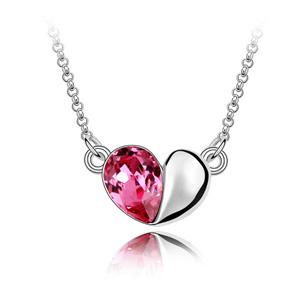 cute heart love pendant necklace with Crystals from Swarovski original fashion jewelry for women girl mother gift 2018