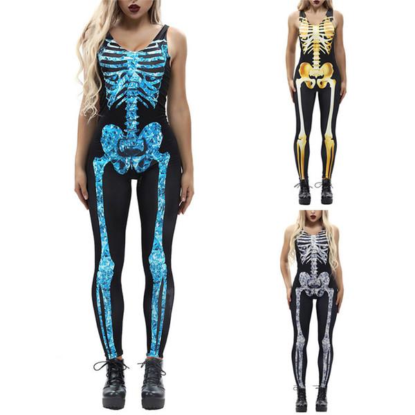 Fashion Women's Sexy Bone Print Fashion Sling Slim Sleeveless Skinny Casual Ladies Halloween Costumes Jumpsuit