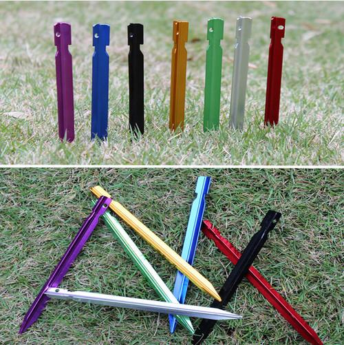best selling Tent Pegs 18cm Aluminum Stake with Rope Outdoor Stable Triangular Prism Tent Nail Peg Tent Accessories Equipment LF024