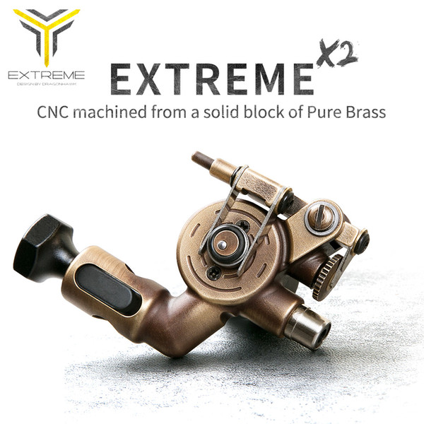 Tattoo Rotary Machine Brass Frame CNC Machine RCA Connected for Tattoo Artists Speed Motor Adjustable Stroke