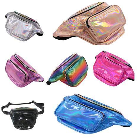 2018 New Laser Pockets Mobile Phone Storage Bag Fashion Messenger Bag Running Leisure Colorful Outdoor Sports Laser Bag