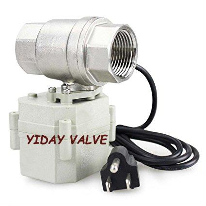 """YIDAY 1"""" DN25 110VAC Stainless Steel Motorized Ball Valve 2 Way/Zone Valve With US Plug(NC CR202 2 Wires Control Electrical Ball Valve"""