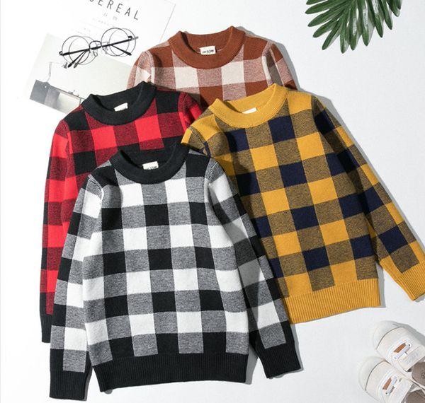 Boys plaid sweater girls lattice knitted pullover children round collar long sleeve jumper autumn winter kids thicken warm clothing F1723