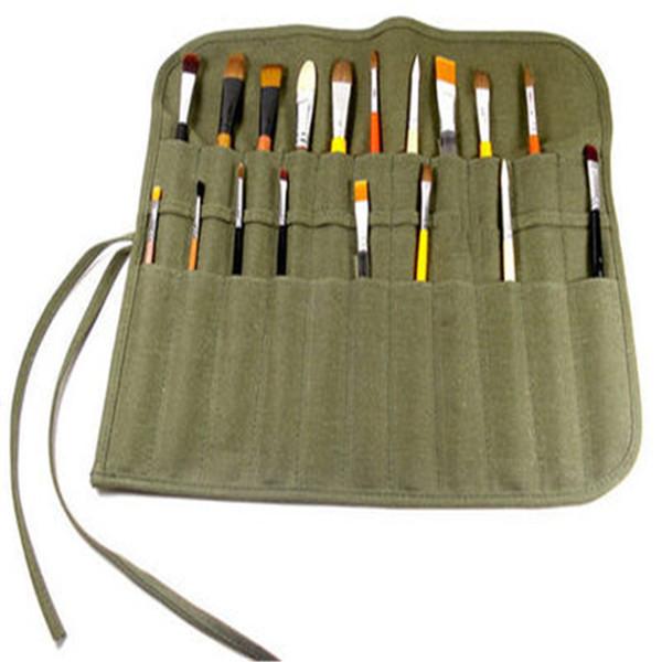 Neue Pinsel Pinsel Tasche 22-Slot Doppelschicht Roll Up Canvas Wrap Pouch Tasche Veranstalter Tasche Perfekte Lagerung für Kunst Malerei