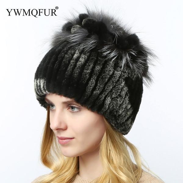 Winter Fur Hats For Women Thick Warm Female Skullies Beanies Caps Rex Rabbit With Fox Fur Ladies Hat 2018 New Arrival YWMQFUR