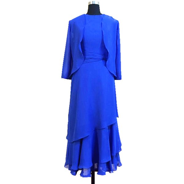2018 Ghands JJShouse Chiffon A-Line Tow piece of Suit long Sleeves Tea-Length Dress Formal Gowns Wedding Guest Mother of The Bride Dresses