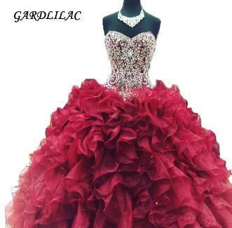 New Cheap Crystal Beads Burgundy Quinceanera Dresses 2018 Masquerade Ball Gowns Ruffles Sweet 16 Dress Vestidos De 15 Anos