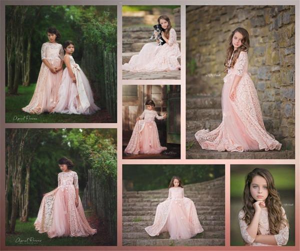 Flower Girls Dresses Cape Sleeve Puffy Tulle Blush Pink Princess Girls First Communion Dresses Custom Made For Garden