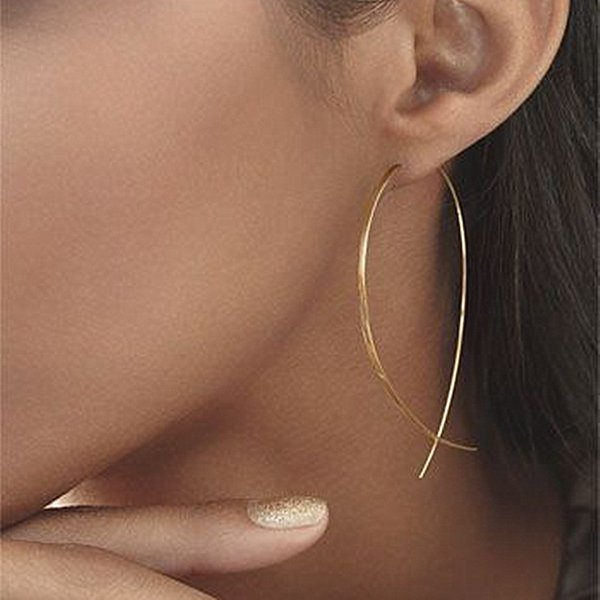 best selling 2018 Newest Geometric Fish Shaped Stud Earrings Simplicity Handmade Copper Wire Earring for Women Gold Silver Black Plated