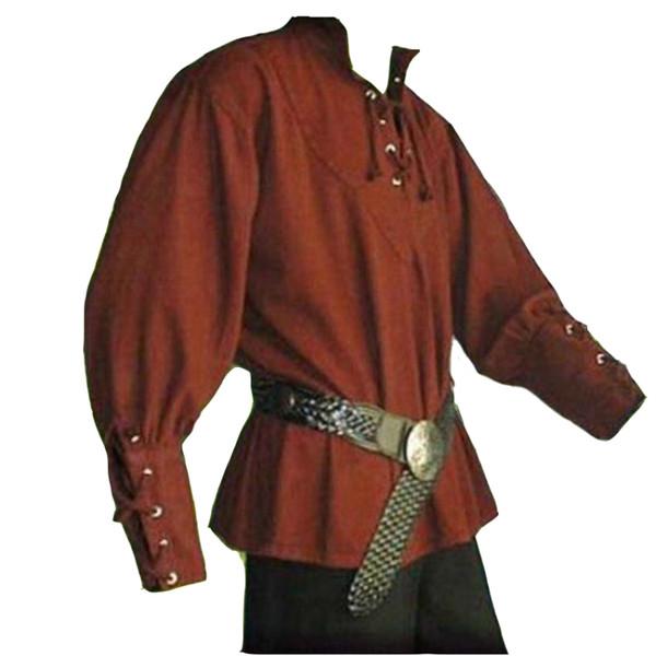European Medieval Men Fashion Vintage Style Rinascimentale Stand colletto Camicia di lino sciolto maschile Casual Prince Servant Dramma vestiti