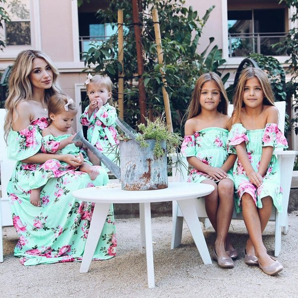 MUQGEW Summer Family Matching Outfits Mother and Daughter Dresses Floral Print Ruffles Off Shoulder Dress Mom Daughter Dress