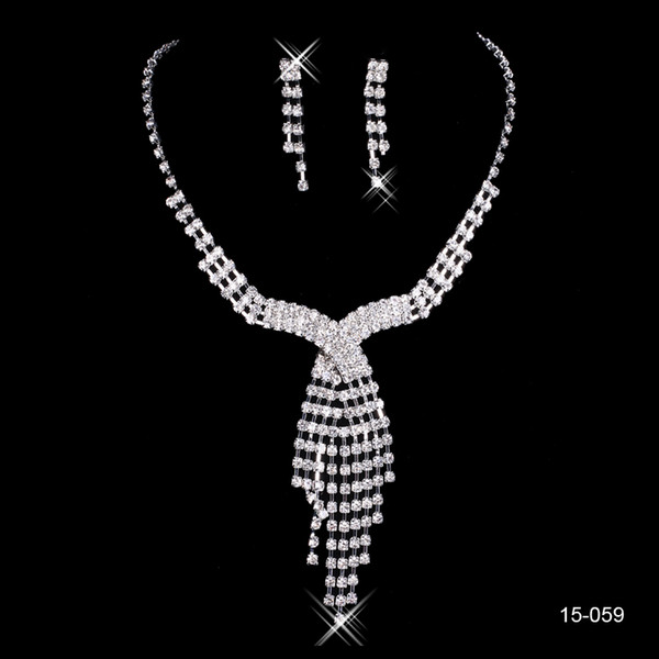 2018 Wedding Jewelry Shining New Cheap 2 Sets Rhinestone Bridal Jewelery Accessories Crystals Necklace and Earrings for Prom Pageant Party