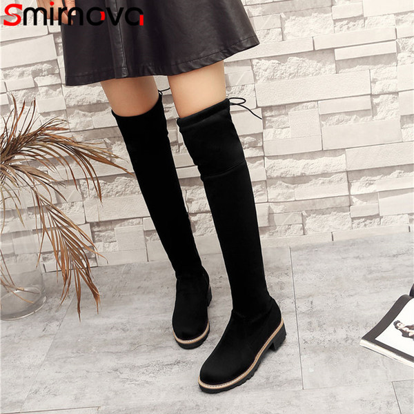 Smirnova NEW fashion 2018 warm winter thigh high boots casual round toe over the knee boots ladies flock woman med high