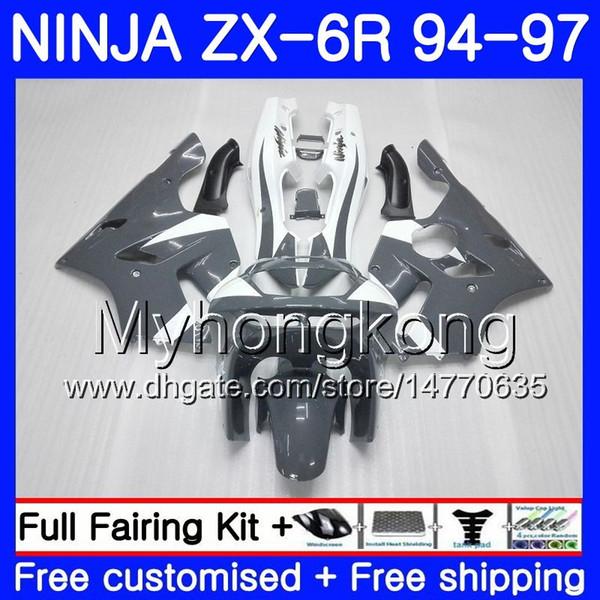Corpo Para KAWASAKI NINJA ZX 636 600CC ZX6R 94 95 96 97 213HM.11 Branco cinza brilhante ZX600 ZX636 ZX 6R 94 97 ZX-6R 1994 1995 1996 1997 Carenagens