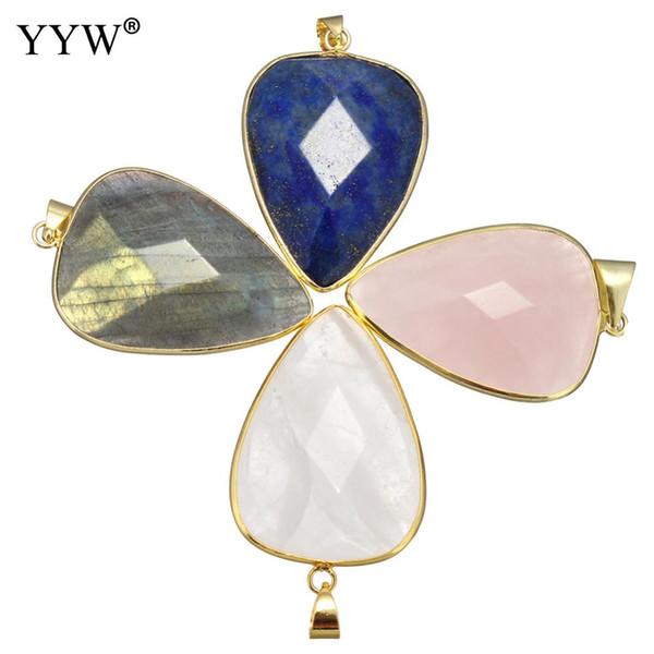 YYW Natural Real Gems Stone Black Agata Lapis Lazuli Rose Clear Quartz Labradorite Gold Color Teardrop Pendants Jewelry Women