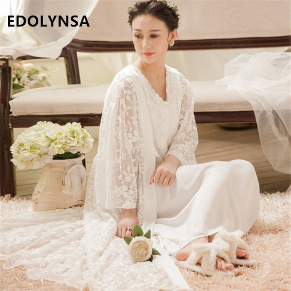 distinctive design special discount rock-bottom price 2019 Sleepwear Robe Gown Sets Lace Kimono Transparent Sleeveless Nightgown  Nightwear Women Cotton Long Negligee Ladies T182 From Lucycloth, $98.64 |  ...