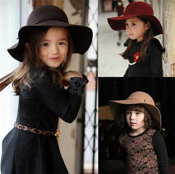 Autumn Winter Warm Kids Boys Girls Vintage Wide Brim Cap Soft Wool Felt Bowknot Bowler Floppy Children Sun Hat Beach Hat TO501