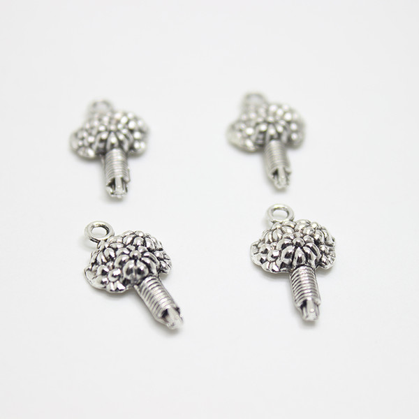 wholesale 30pcs-- Flower Charms 22x12mm Antique silver tone Flower Bouquet charm pendant for diy Jewelry making