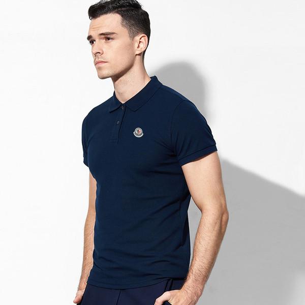 Polo de manga corta de Paul versión coreana de los hombres de verano delgado guapo nueva solapa casual blanco camiseta de verano desgaste