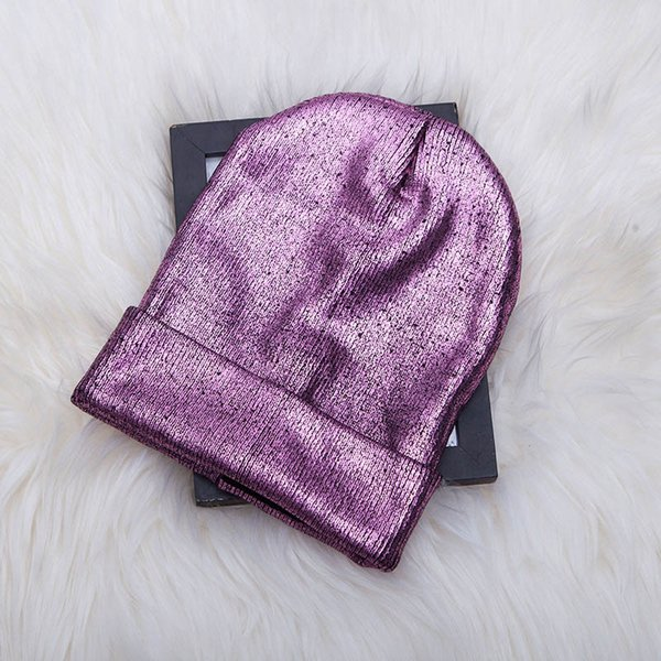 Winter Women Bling Hats Fashion Warm Knitted Beanie Hip Hop Bonnets For Girl Female Shiny Hats Ladies Skull Cap Slouchy Beanie