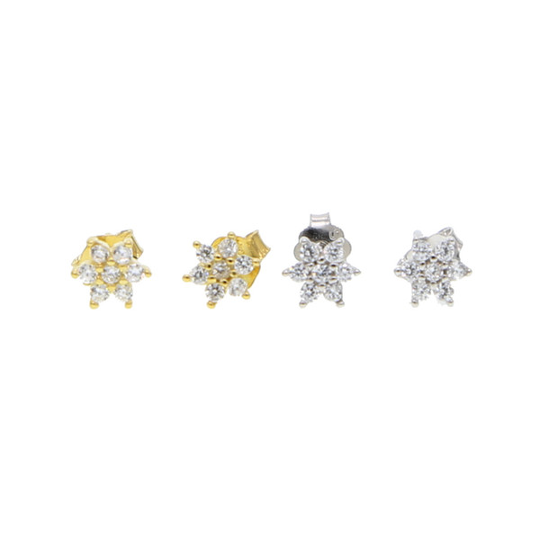 2018 super mini 925 sterling silver cz flower 5mm tiny studs delicate multiple hole for women girl ear studs small flower cz earrings