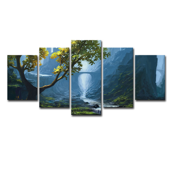 Modern Frames Painting Modular Picture 5 Panel Beautiful Landscape Cuadros Decor Canvas Art Wall Decor For Living Room