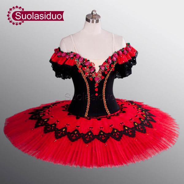 Profesional adulto negro etapa trajes de tutú de ballet mujeres ballet dance performance apperal niños dancewear falda de ballet vestidos de las muchachas