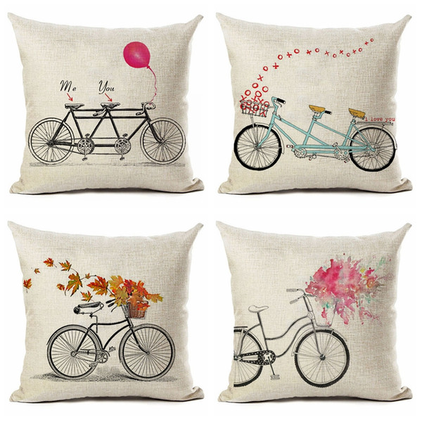 Bicycle Printed Pillow Case decorative Square Throw Pillow Covers Set Cushion Case for Sofa Bedroom Car 18 x 18 Inch