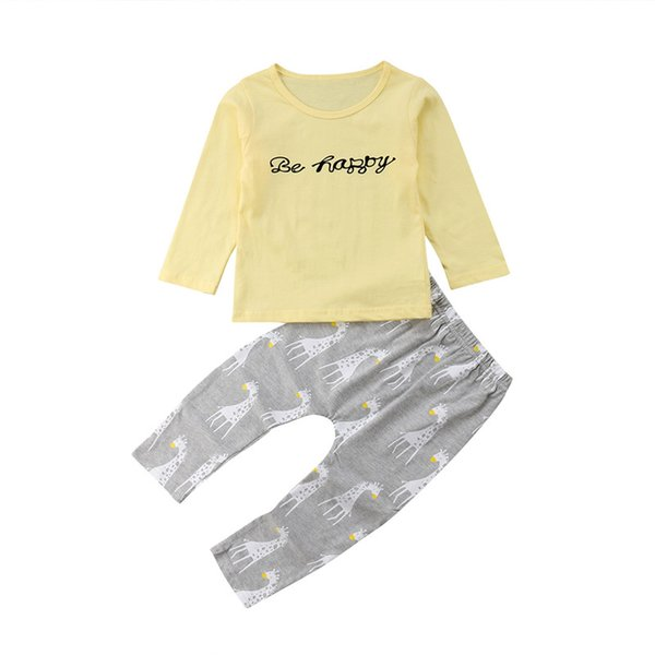 2PCS Casual Newborn Baby Boy Girl Cotton Long Sleeve T Shirt Tops +Deer Long Pants Outfits Set Clothes