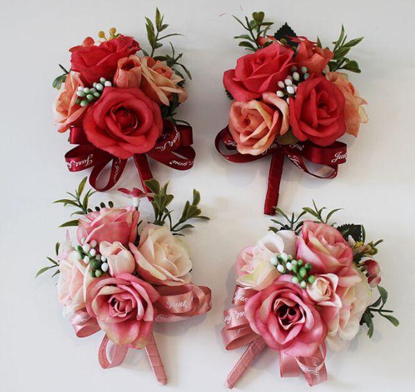 Flor en el ojal Flores para la mano Ramillete de baile Ramillete de flores artificiales Flor de la solapa Boutonniere Muñeca Accesorios de boda