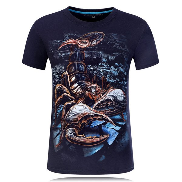 Men Tshirt Short Sleeve Summer 2018 Tops Casual 3D Print T Shirt O Neck Tees Plus Size Brand Animal Scorpion Black Blue