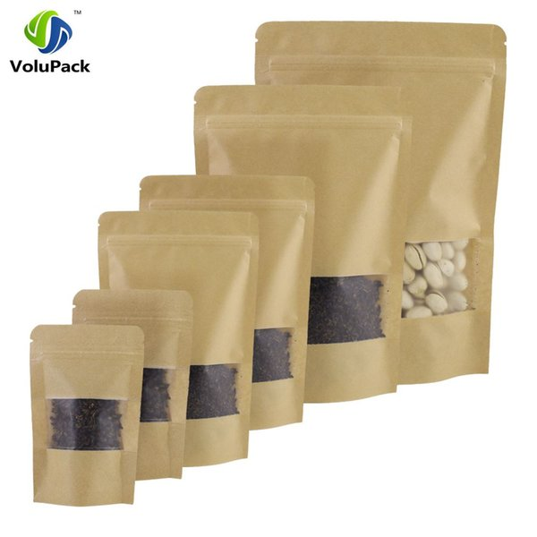 High Quality 100pcs Waterproof Stand Up Package Zip Lock Pouches Tear Notch Brown Kraft Paper Storage bags With Window