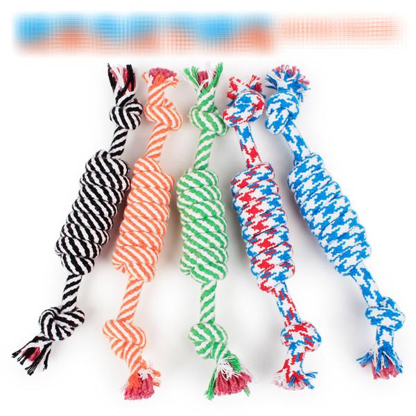 4 colores Nueva mascota Cuerda de algodón perro dientes de peluche juguetes mascota molar y dientes limpios juguete Durable Braided Bone Cuerda Funny Tool B