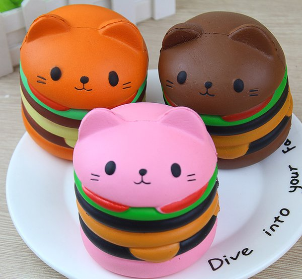 top popular New Cute Kawaii Soft Squishy Jumbo Cartoon Cat Hamburger Scented Slow Rising Exquisite Kid Soft Stress Relief Doll Stress Reliever Decor 2019