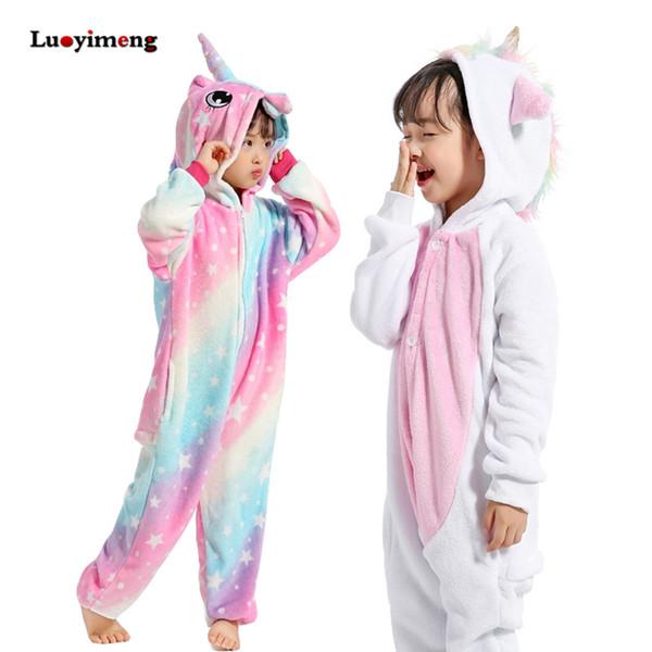 Mädchen Kleidung Kinder Goldhorn Einhorn Pyjamas Kigurumi Cartoon Tier Rosa Licorne Onesie Schläfer Boy Halloween Kostüm Overall