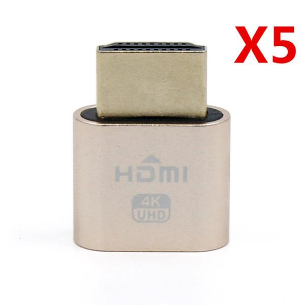5 Pcs VGA Virtual Display Adapter HDMI 1.4 DDC EDID Dummy Plug Headless Ghost Display Emulator Video card Lock plate