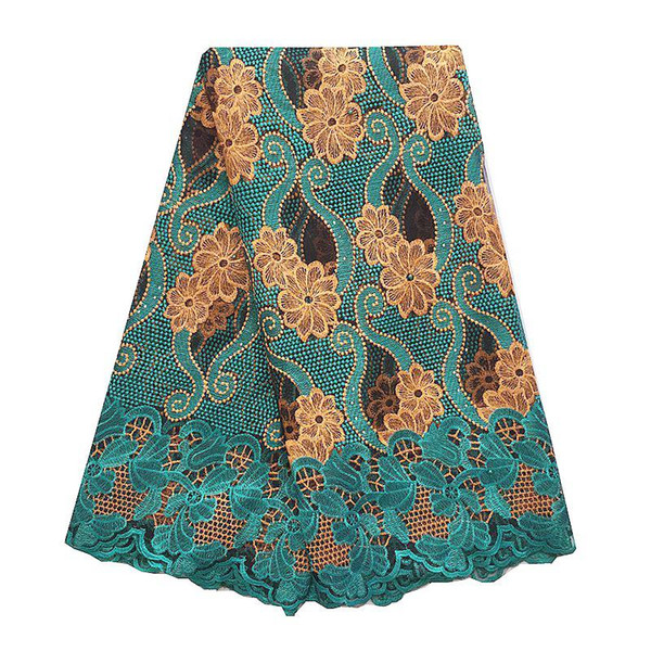 top popular Women French African Lace Swiss Guipure 2018 Purple Latest Nigerian Lace Fabrics High Quality Africa Teal Green Lace Fabric 2021