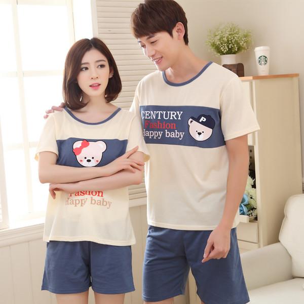 Couples Pajamas Sets Women Cotton Pajama Short Sleeve Pyjama Cute Cartoon Panda Bear Sleepwear Men Nightwear Homewear Hot Summer