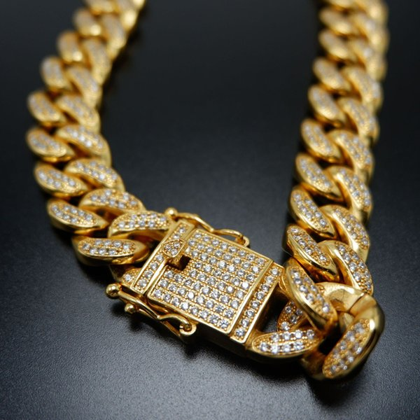 Men Zircon Cuban Miami Link Necklace Copper Material CZ Clasp Iced Out Gold Silver Hip hop Chain Necklace 18 20 22 24inch