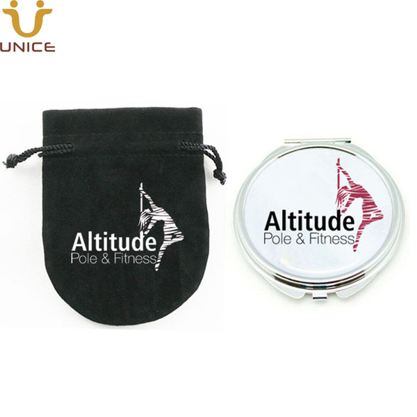 100pc lot cu tomized logo co metic compact mirror with gift pouch printed logo ilver round pocket makeup mirror party favor