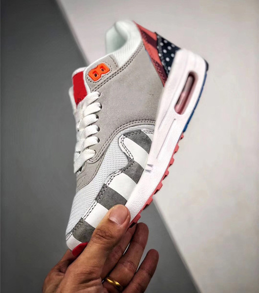 Authentic 97AirMax 1 Parra Sean Wotherspoon 1/97 Running Shoes For Men Corduroy Rainbow AT3057-100 Sports Sneakers With Original Box