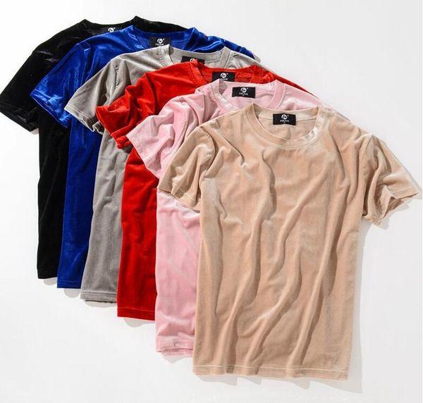 New Fashion Streetwear Men Extended T Shirt Velour Mens Hip Hop Longline Justin Bieber Shirts Golden Side Velvet Curved Hem Tee